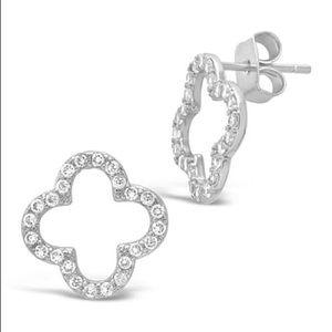 Nadri quatrefoil silver earrings